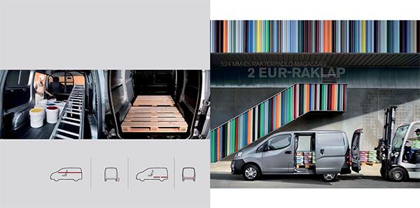 AZ NV200 HATALMAS RAKTERÉBEN 2 EUR-raklap is könnyedén elfér.